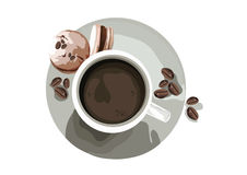 Coffee or Tea cup with Macaroons Stock Photography