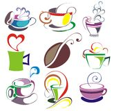 Coffee, tea cup set. Coffee tea cup cafe latte chocolate bean Royalty Free Stock Photo