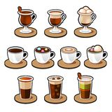 Coffee and tea cup set. Royalty Free Stock Photos