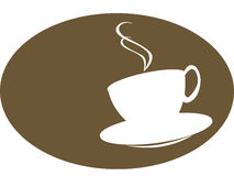 Coffee or tea cup silhoutte. Coffee or tea cup illustration in brown in silhoutte royalty free illustration