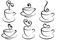 Coffee and tea cups, stock illustration