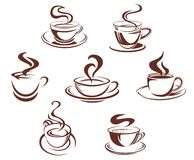 Coffee and tea cups. Symbols for beverage design Stock Photos