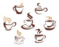 Coffee and tea cups. Symbols for fast food design Royalty Free Stock Images