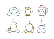 Coffee and tea cups Royalty Free Stock Images