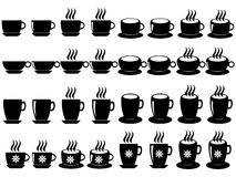 Coffee and tea cups. Set of coffee and tea cups illustrated on white background Stock Photography