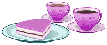 Coffee and tea cups with cake Royalty Free Stock Photography