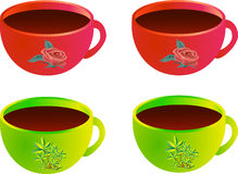 Coffee or tea cups. Four colorful and beautiful tea or coffee cups royalty free illustration