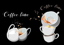 Coffee and Tea cups set. Illustration eps10 Stock Photos