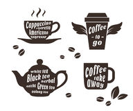 Coffee and tea cups set Royalty Free Stock Photos