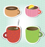 Coffee, tea cups stikers Stock Photography