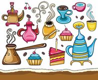 Coffee, and tea design elements. Cartoon collection of cute icons - coffee, tea, mate theme Stock Images
