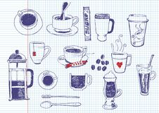 Coffee and tea doodles Royalty Free Stock Images