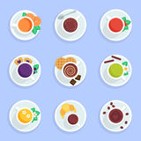 Coffee, tea, drinks and cocktails flat icons set Royalty Free Stock Images