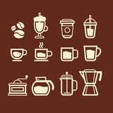 Coffee, Tea and Drinks icons set Stock Photos