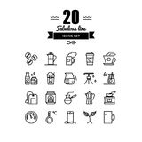 Coffee and tea elements line icons set Royalty Free Stock Photos