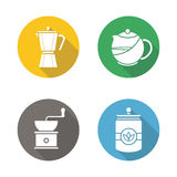 Coffee and tea flat design long shadow icons set Royalty Free Stock Image