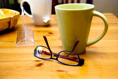 Coffee, tea and glasses royalty free stock photos