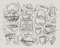 Coffee and tea. hand-drawn vector elements on the subject of cafe, restaurant Stock Photography