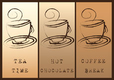 Coffee Tea Hot Chocolate Background. Coffee Tea Hot Chocolate on brown background royalty free illustration