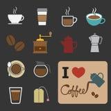 Coffee and tea icon. Set of coffee and tea icon stock illustration