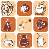 Coffee and tea icons. Coffee and tea artistic icons royalty free illustration