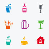 Coffee, tea icons. Alcohol drinks signs. Stock Photos