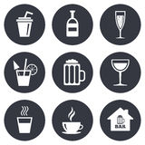 Coffee, tea icons. Alcohol drinks signs Stock Photo