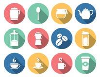 Coffee and tea icons. Flat design stock illustration