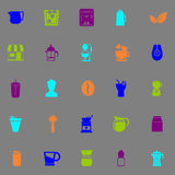 Coffee and tea icons fluorescent color on gray background Stock Photos