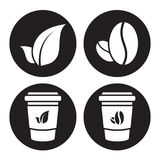Coffee and tea icons. Four Coffee and tea white web icons set on a black background Royalty Free Stock Photos