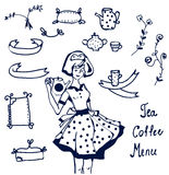 Coffee and tea icons - hand drawn graphics Royalty Free Stock Photos
