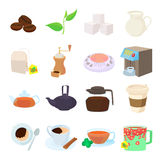 Coffee and tea icons set, cartoon style Stock Photography