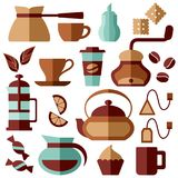 Coffee and tea icons set. Colored web elements. Flat style vector illustration Royalty Free Stock Images