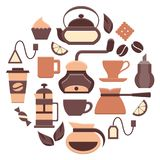Coffee and tea icons set. Colored web elements. Flat style vector illustration. EPS10 Royalty Free Stock Image
