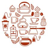 Coffee and tea icons set. Contour web elements. Linear style vector illustration Stock Images
