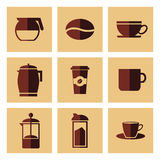 Coffee and tea icons Stock Image