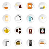 Coffee and tea icons set, flat style. Coffee and tea icons set. Flat illustration of 16 coffee and tea icons for web royalty free illustration