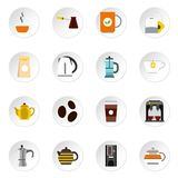 Coffee and tea icons set, flat style. Coffee and tea icons set. Flat illustration of 16 coffee and tea vector icons for web Stock Images