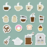 Coffee and tea icons set. Illustration of coffee and tea icons set Stock Photography
