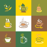 Coffee and tea icons Set and Signs Stock Photo