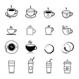 Coffee and tea icons set Stock Images