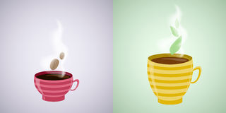 Coffee and tea illustration. Royalty Free Stock Image