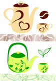 Coffee and tea illustrations Royalty Free Stock Image