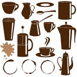 Coffee and tea items silhouettes set Royalty Free Stock Photos