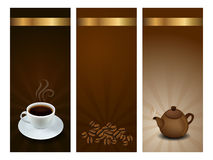 Coffee and tea labels. Three labels - stickers with coffee and tea theme Royalty Free Stock Photography