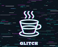 Coffee and Tea line icon. Hot drink sign. Glitch effect. Coffee and Tea line icon. Hot drink sign. Fresh beverage symbol. Background with colored lines. Vector royalty free illustration