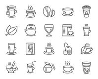 Coffee and Tea line icons. Teapot, Coffeepot. Coffee and Tea line icons. Set of Cappuccino, Juice with ice and Latte signs. Teapot, Coffeepot and Hot drink with Stock Images