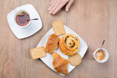 Coffee and tea, a morning breakfast Stock Image