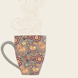 coffee and tea mug with floral pattern. Cup background. Hot drin Royalty Free Stock Photo