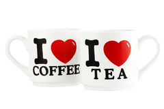 Coffee and tea mugs. Isolated on the white background Royalty Free Stock Photos